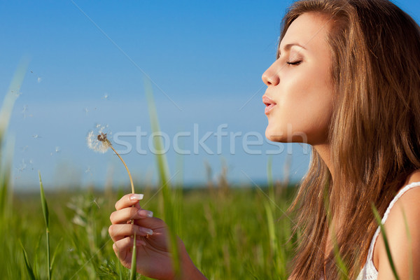 Stock photo: woman blowing to dandelion
