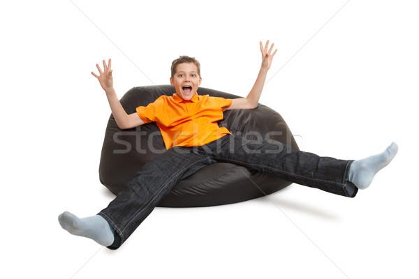 Moço saco de feijão isolado branco mobiliário criança Foto stock © chesterf
