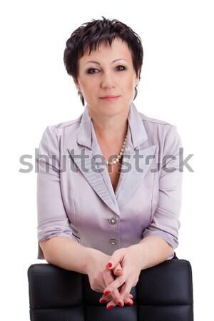 Stockfoto: Portretten · zakenvrouw · stoel · witte