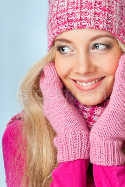 smiling woman over white Stock photo © chesterf