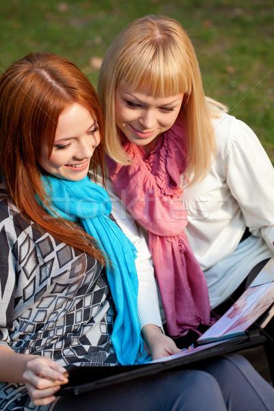 Kettő nővérek fényképalbum park ül nyár Stock fotó © chesterf