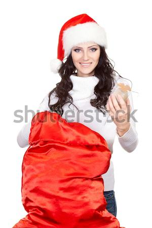 woman finding for surprise in the sack Stock photo © chesterf