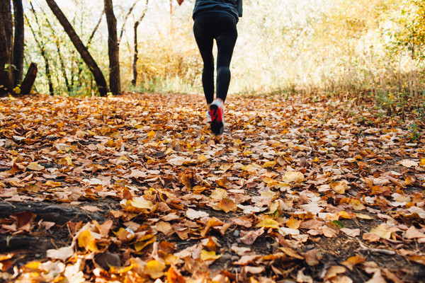 женщину осень листва обувь спортсмена Сток-фото © chesterf