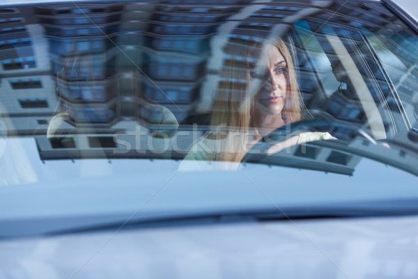 Belle femme conduite voiture cute fille Photo stock © chesterf