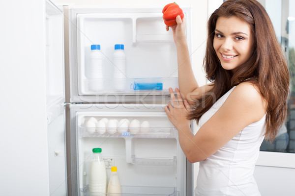 Woman searching in her fridge Stock photo © chesterf