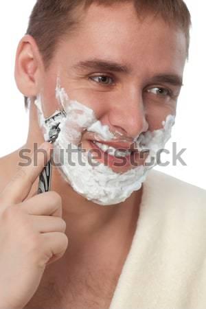 Stock fotó: Vonzó · férfi · arc · fehér · ház · egészség
