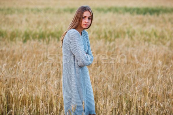 Bella bruna signora campo di grano tramonto Foto d'archivio © chesterf