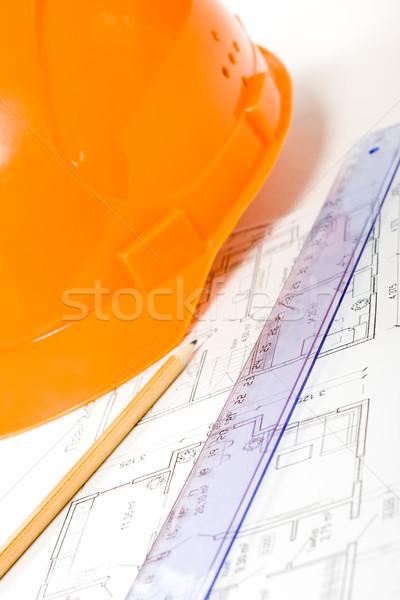 orange helmet, pencil, ruler and blueprint Stock photo © chesterf