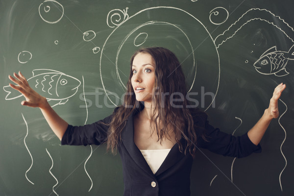 girl over chalkboard  like a diver Stock photo © chesterf