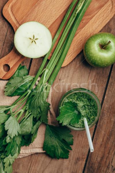 グリーンスムージー セロリ リンゴ 表示 木製のテーブル 食品 ストックフォト © chesterf