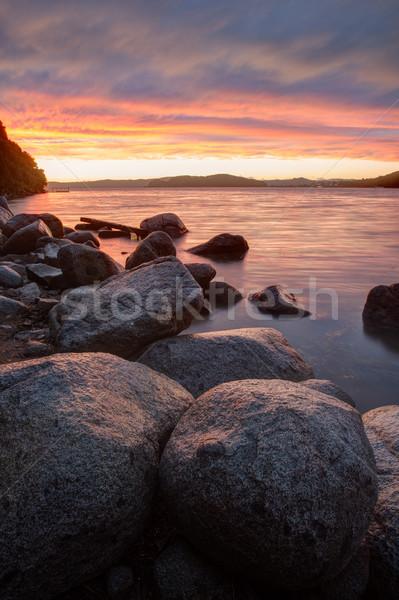 Drammatico tramonto mare piovosa sera spiaggia Foto d'archivio © chesterf