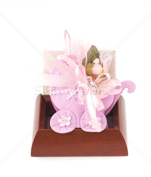 Keresztség doboz édes nő virág baba Stock fotó © cheyennezj