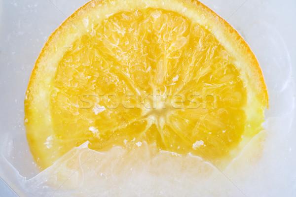 Narancs jég víz egészség főzés dzsúz Stock fotó © cheyennezj