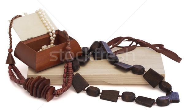 Naszyjnik drewna polu czarny kolory biżuteria Zdjęcia stock © cheyennezj