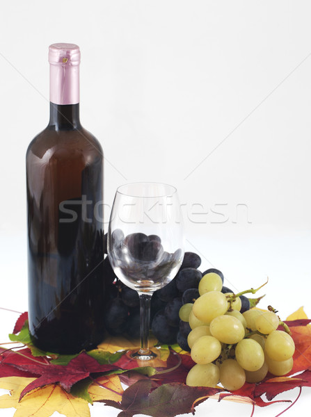 Wino czerwone butelki szkła winogron żywności restauracji Zdjęcia stock © cheyennezj