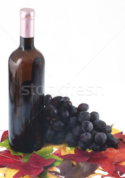 Wino czerwone butelki szkła winogron żywności pić Zdjęcia stock © cheyennezj
