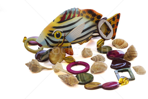 Collier mer shell poissons mode fond Photo stock © cheyennezj
