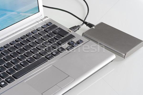 Laptop technologii klawiatury zielone notebooka Zdjęcia stock © cheyennezj