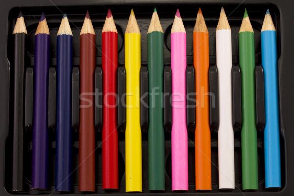 鉛筆 ボックス 紙 デザイン にログイン 青 ストックフォト © cheyennezj