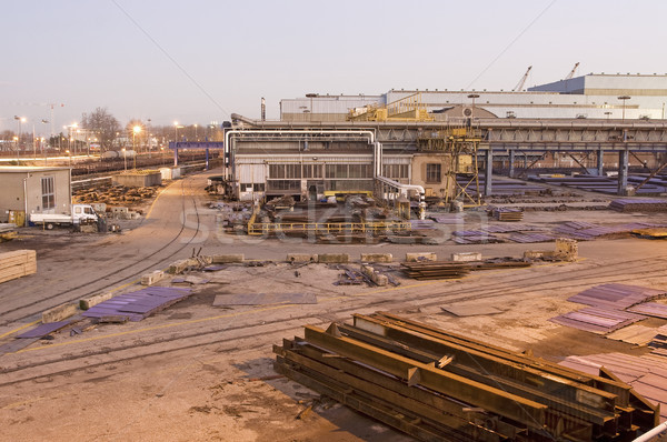 Güneş manzara duman sanayi fabrika Stok fotoğraf © cheyennezj