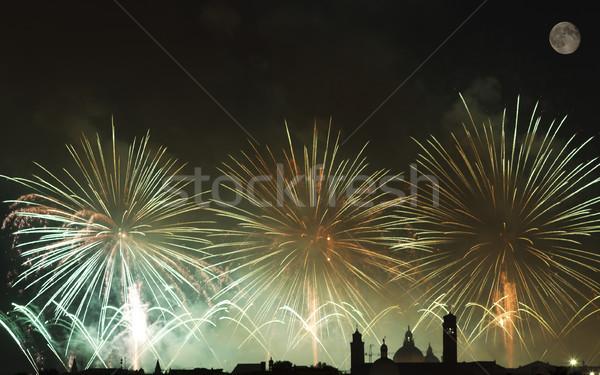 Tűzijáték ünneplés Velence Olaszország hold háttér Stock fotó © cheyennezj