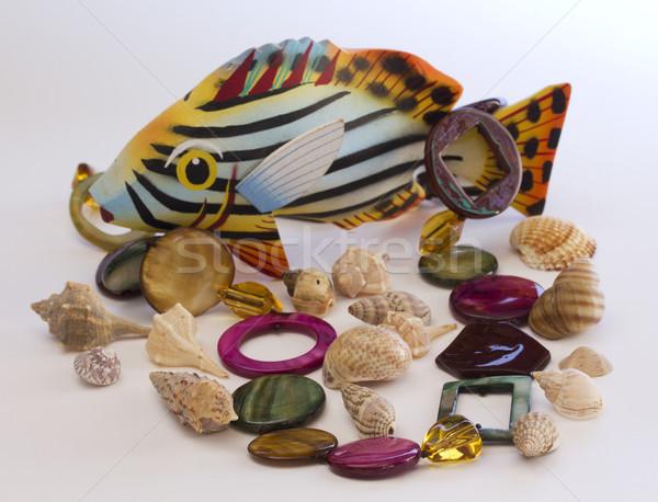 Nyaklánc tenger kagyló hal divat háttér Stock fotó © cheyennezj