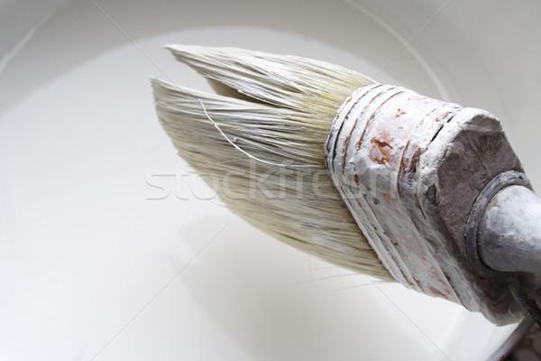 Pędzlem biały kolor puszka lateks Zdjęcia stock © cheyennezj