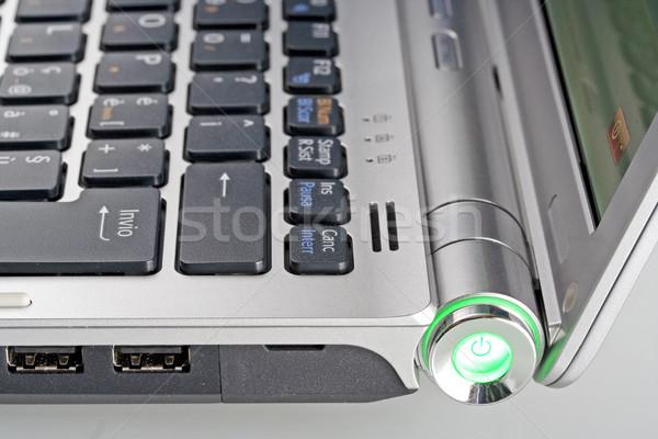Laptop billentyűzet zöld notebook mobil kommunikáció Stock fotó © cheyennezj