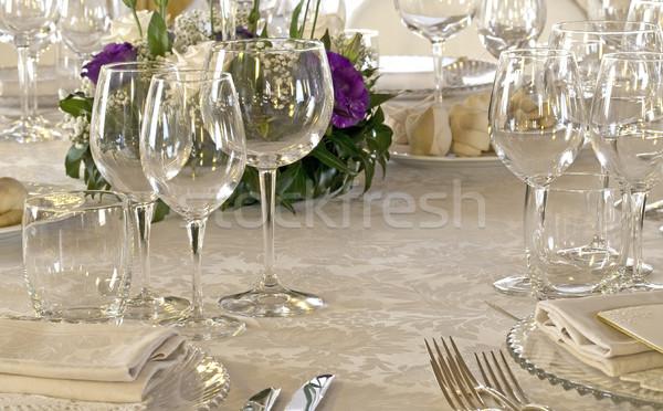 Esküvő étterem házasság virágcsokor gyönyörű friss Stock fotó © cheyennezj