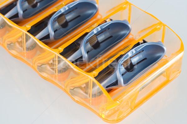 бритва лезвия оранжевый макроса металлический гигиена Сток-фото © cheyennezj