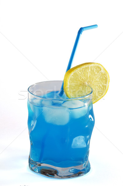 Niebieski koktajl szkła tle pomarańczowy pić Zdjęcia stock © cheyennezj