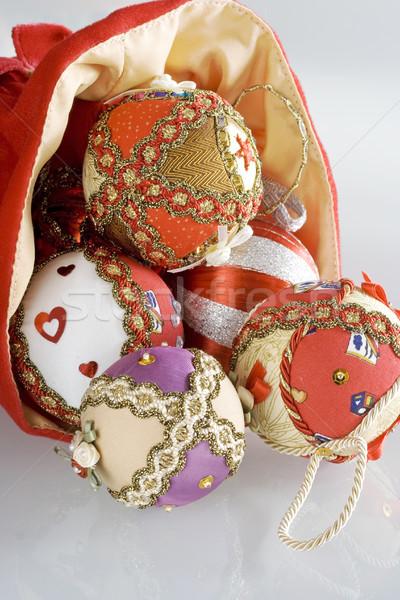 Karácsony labda textúra háttér szövet minta Stock fotó © cheyennezj