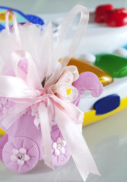Keresztség doboz édes buli játék ajándék Stock fotó © cheyennezj