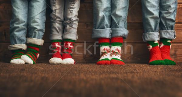 Voeten sokken christmas ornament vrolijk gelukkig Stockfoto © choreograph