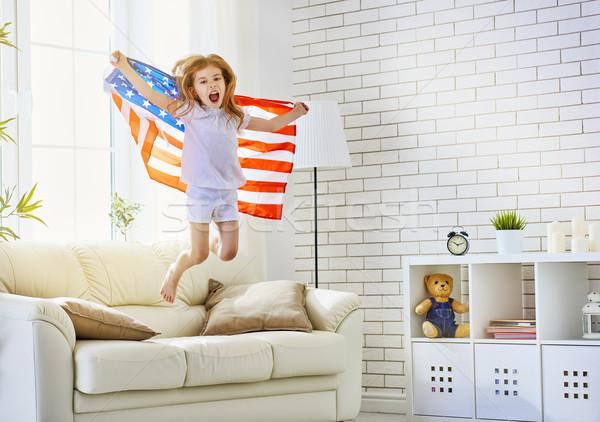 флаг Америки ребенка счастливым весело Kid Сток-фото © choreograph