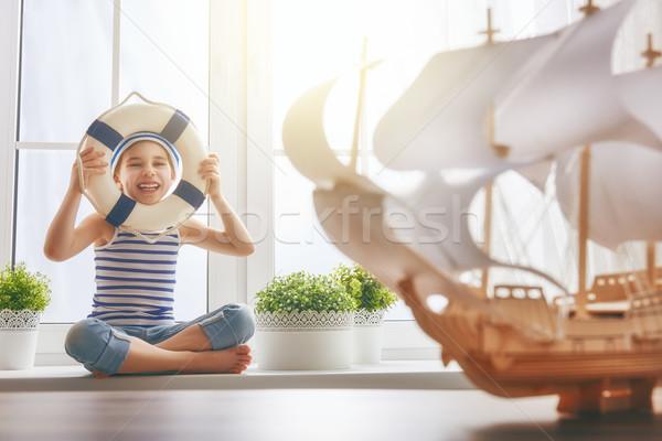 Dromen zee reizen aanbiddelijk weinig kind Stockfoto © choreograph