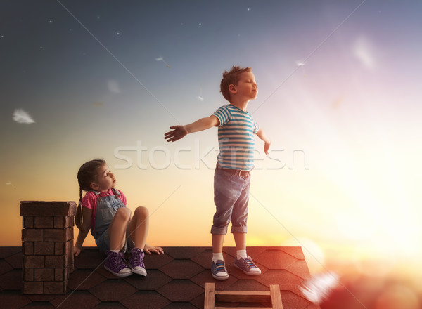 boy and girl playing on the roof Stock photo © choreograph