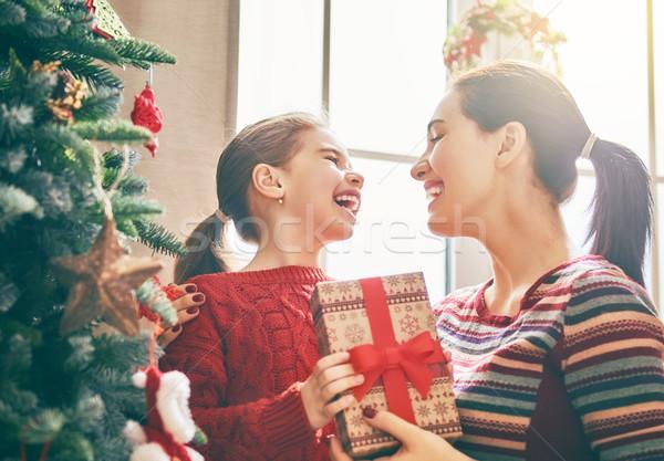 Stok fotoğraf: Anne · kız · noel · ağacı · neşeli · Noel · mutlu