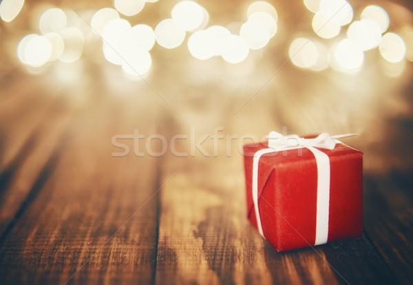gift box and Christmas garland Stock photo © choreograph