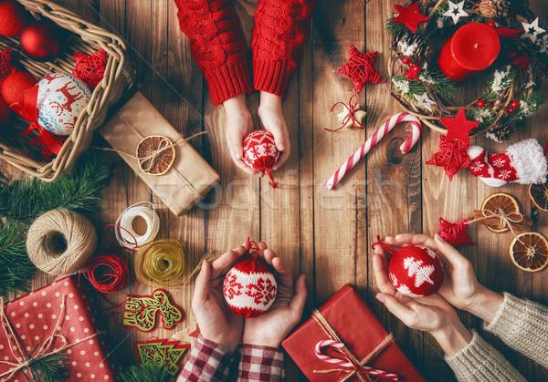 Weihnachten Familie Traditionen heiter glücklich Feiertage Stock foto © choreograph
