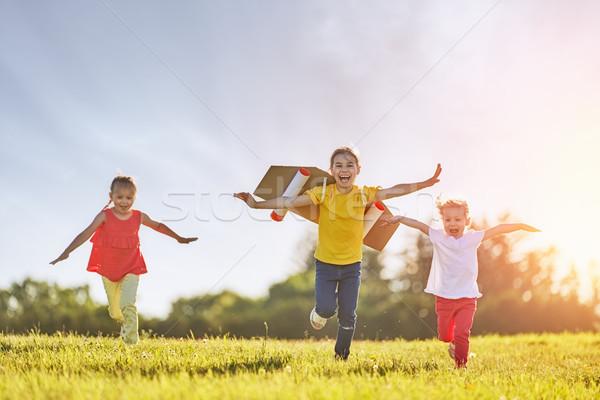 children playing astronaut Stock photo © choreograph