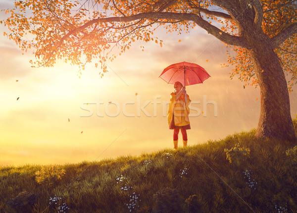 Bambino rosso ombrello felice divertente autunno Foto d'archivio © choreograph