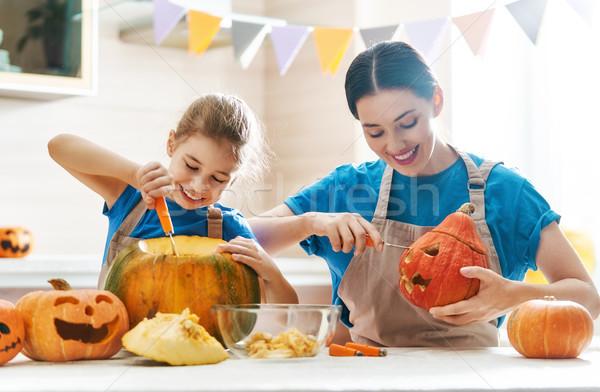 Aile halloween mutlu anne kız kabak Stok fotoğraf © choreograph