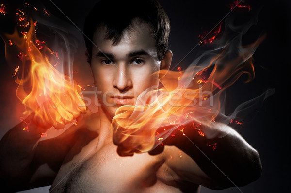 Boxe fort homme feu sport art Photo stock © choreograph