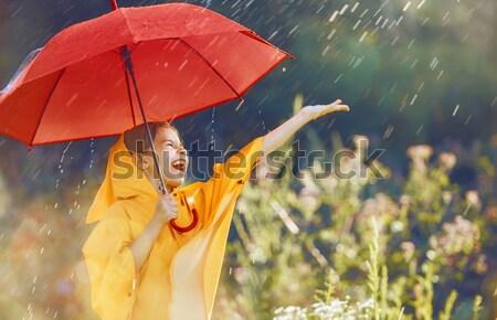 çocuk kırmızı şemsiye mutlu komik sonbahar Stok fotoğraf © choreograph