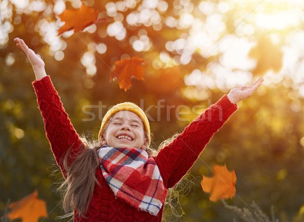 çocuk oynama sonbahar yaprakları mutlu doğa yürümek Stok fotoğraf © choreograph