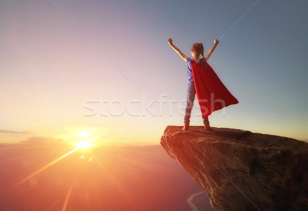 Dziecko gry superhero mały dziewczyna wygaśnięcia Zdjęcia stock © choreograph