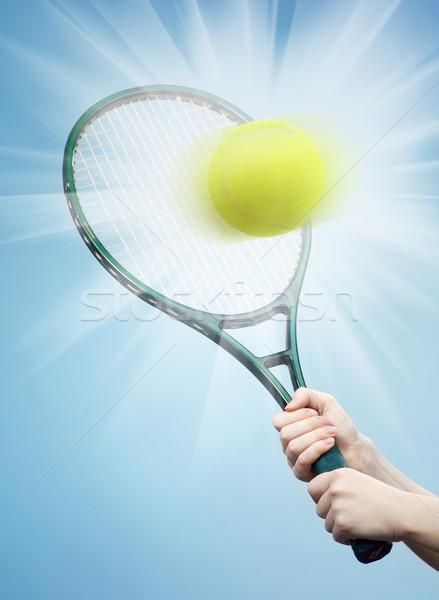 Teniszütő labda kék kéz tenisz tárgy Stock fotó © choreograph