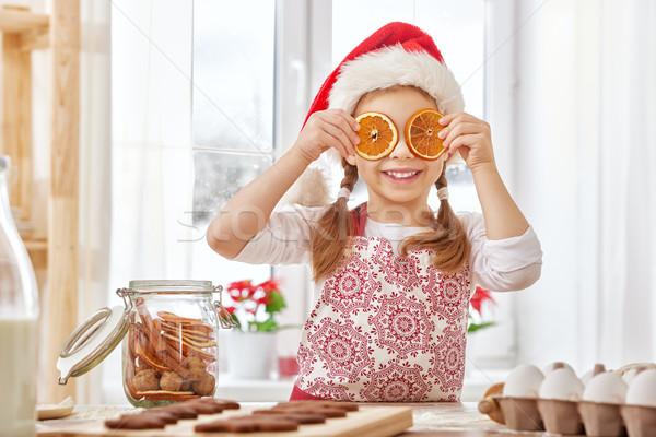 Stockfoto: Koken · christmas · biscuits · meisje · gelukkig · kind
