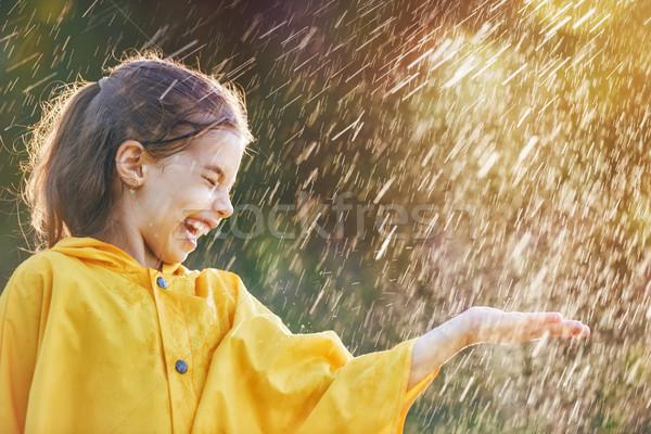 Nino otono lluvia feliz funny ducha Foto stock © choreograph
